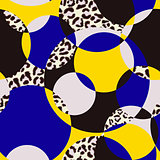 Seamless pattern pattern with circles and leopard print.