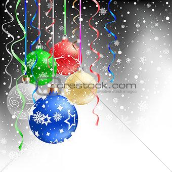 christmas balls black background