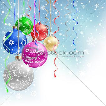 christmas balls blue background