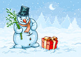 Christmas snowman and red gift box with bow