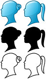 Woman Head Icon and Silhouette Pack