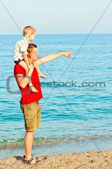 Father showing something to his son in the sea