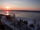 Winter sunset near the river Danube in Ruse
