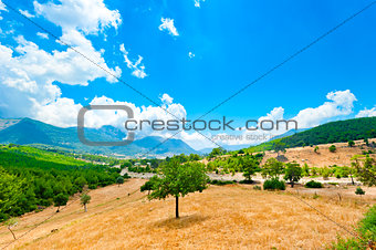 beautiful mountain landscape and blue sky