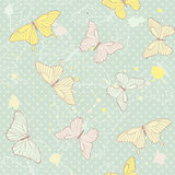 Delicate seamless pattern with butterflies.