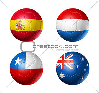 Brazil world cup 2014 group B flags on soccer balls