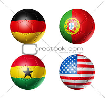 Brazil world cup 2014 group G flags on soccer balls