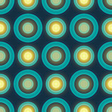 Blue colored retro seamless vector pattern with circles