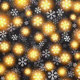 Vector background with golden falling snow on black