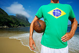 Brazilian Soccer Football Player Stands on Rio Beach