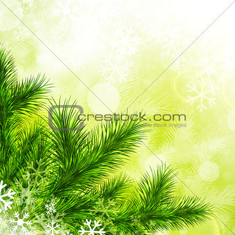 Green Fir Tree and Snowflakes