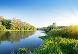 Summer river at sunset