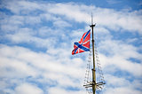 The russian navy jack on sailing-ship mast