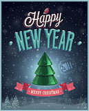 New Year Poster with Christmas tree.