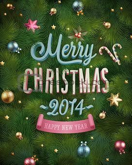 Christmas poster with fir tree texture.