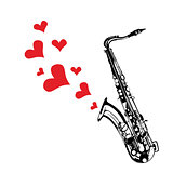 Music saxophone illustration playing a love song