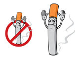 Sad cigarette in cartoon style