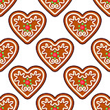 Gingerbread hearts seamless pattern background