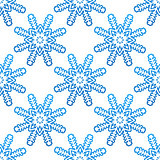 Blue snowflakes seamless pattern background
