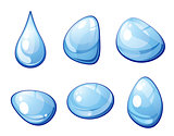 Blue water drops set