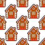 Seamless gingerbread pattern with people houses