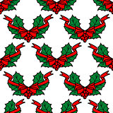 Christmas holly seamless pattern background