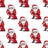 Seamless pattern with cartoon Santa Claus