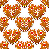 Gingerbread cookies seamless pattern with heart shapes