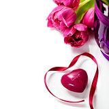Pink tulips Valentine's day