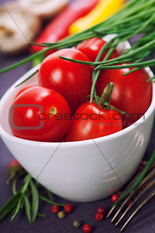Tomatoes, chives and vegetables