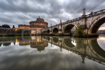 Castle of Holy Angel and Holy Angel Bridge over the Tiber River