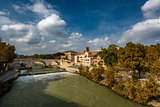 View on Tiber Island and Cestius Bridge, Rome, Italy