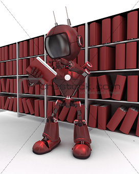 Android at bookshelf