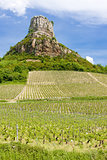 La Roche de Solutré with vineyards, Burgundy, France