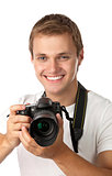 Portrait of a handsome young man holding a camera