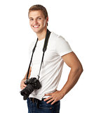 Portrait of a handsome young man with a camera