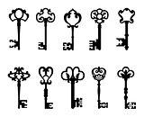 Black vintage keys set
