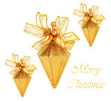 Golden Christmas tree ornaments