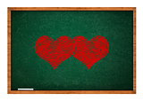 Two hearts on green chalkboard