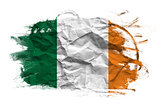 Ireland flag on Crumpled paper texture