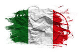 Italy flag on Crumpled paper texture