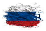 Russian flag on Crumpled paper texture