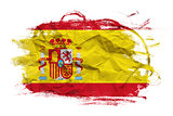 Spain flag on Crumpled paper texture