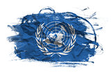 UN flag on Crumpled paper texture