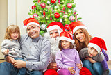 Large family near Christmas tree