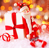 Holiday Christmas background with cute Santa decoration