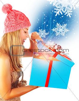 Cute woman getting Xmas gift