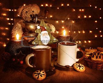 Christmas coffee with cookies