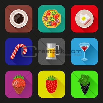 Food and drinks icons set. Flat design. Vector illustration.
