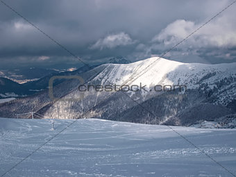 Mountains covered with snow
